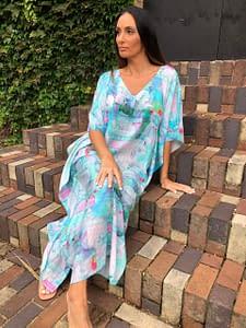 Claire Powell Women's Kaftan Long Dress | Design Butterfly Close up