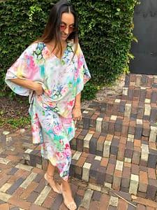 Claire Powell Women's Kaftan Long Dress | Design Floral Portrait